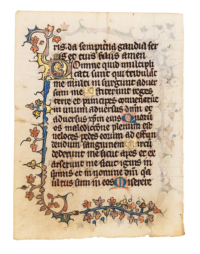 Five leaves from an early Book of Hours, of Dominican Use, in Latin, illuminated manuscript on pa - Image 4 of 8