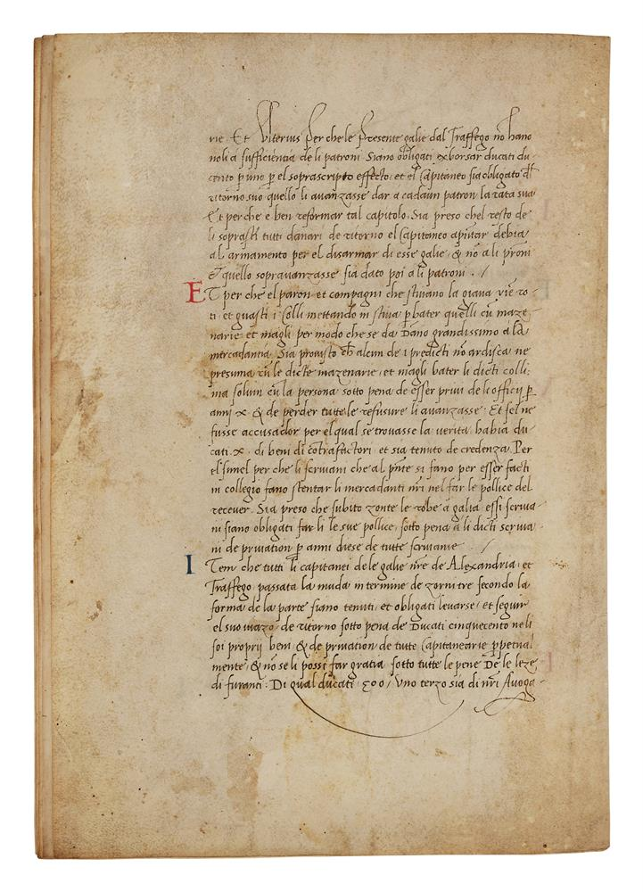 Leaves with the regulations of a mercantile fleet that set sail from Venice on 21 May 1504 for Al - Image 9 of 9