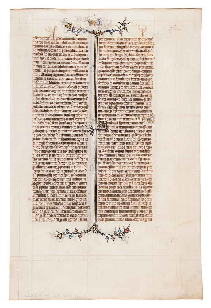 Leaf from the St Albans Abbey Bible, in Latin, illuminated manuscript on parchment [northern Fran