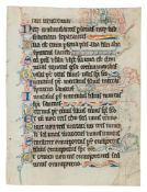Two leaves from an early Psalter-Hours, with numerous penwork drolleries of a hanged man, a cow