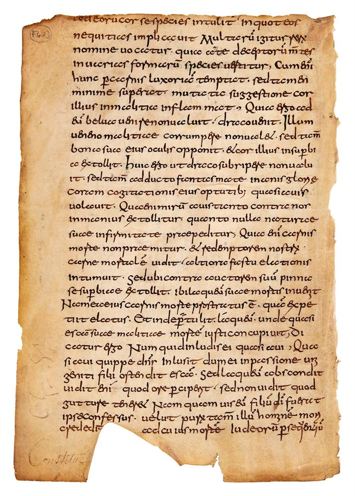 Leaf from a copy of Gregory the Great, Moralia in Job, in pre-Caroline Germanic minuscule, in Latin - Image 2 of 2