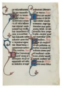 Leaf from the celebrated Beauvais Missal, with a single animal-headed drollery, in Latin,