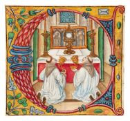 Two tonsured monks kneeling before the altar in worship of the host, cutting from a Gradual, manu