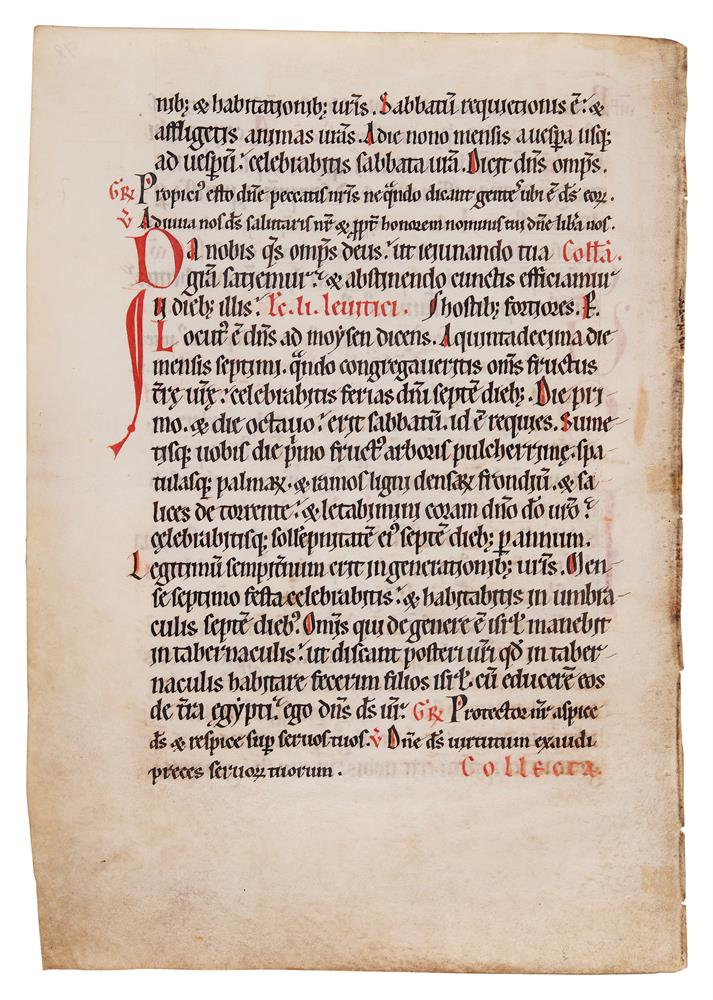 Leaf from a Missal, of Cistercian Use, in Latin, decorated manuscript on parchment [Austria or - Image 2 of 2