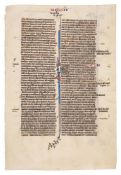 Three leaves from a grand lectern Bible, in Latin, illuminated manuscript on parchment [Flanders,