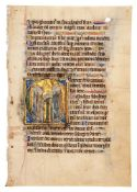 Leaf from a Psalter, with a large historiated initial, in Latin, illuminated manuscript on parchm