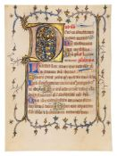Two leaves from an early Book of Hours, in Latin, illuminated manuscript on parchment [southern