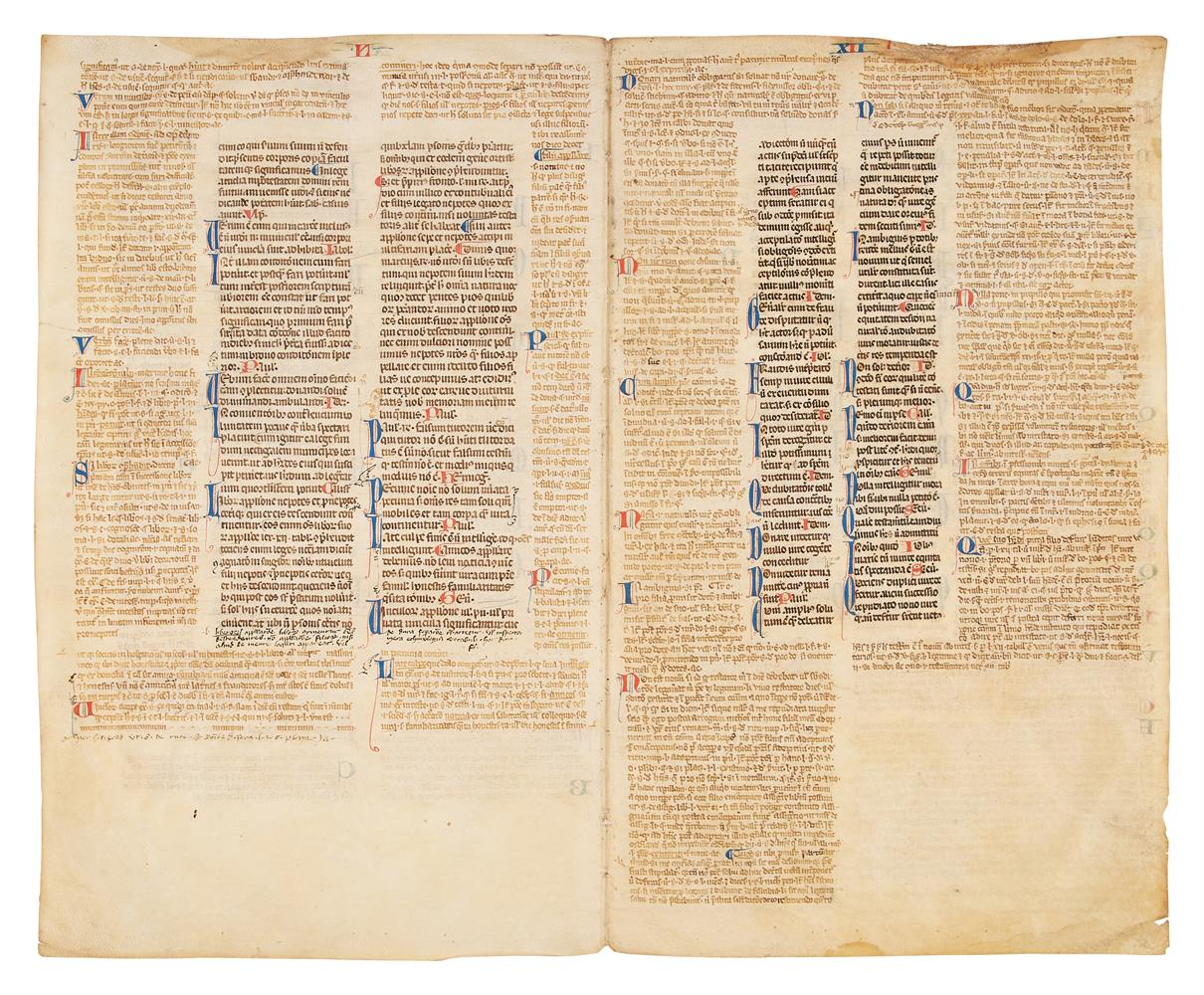 Collection of leaves from legal manuscripts, in Latin, on parchment [thirteenth to fourteenth cen - Image 7 of 8