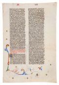 Two leaves of John of Wales, Communiloquium or Summa collationum, in Latin, illuminated manuscrip