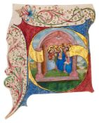 Pentecost, in a large historiated initial on a cutting probably from a Gradual, in Latin, illumin