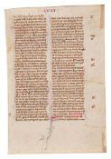 Three leaves from a copy of William Peraldus, Summa de Vitiis, in Latin, decorated manuscript on