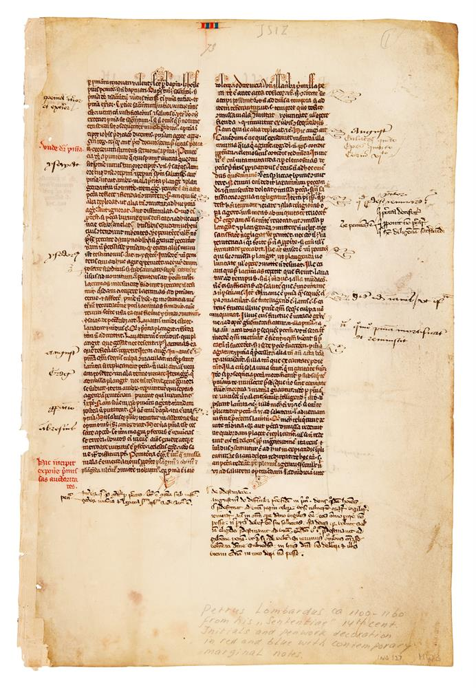 Two leaves from a copy of Peter Lombard, Libri Quattour Sententiarum, in Latin, manuscript on par