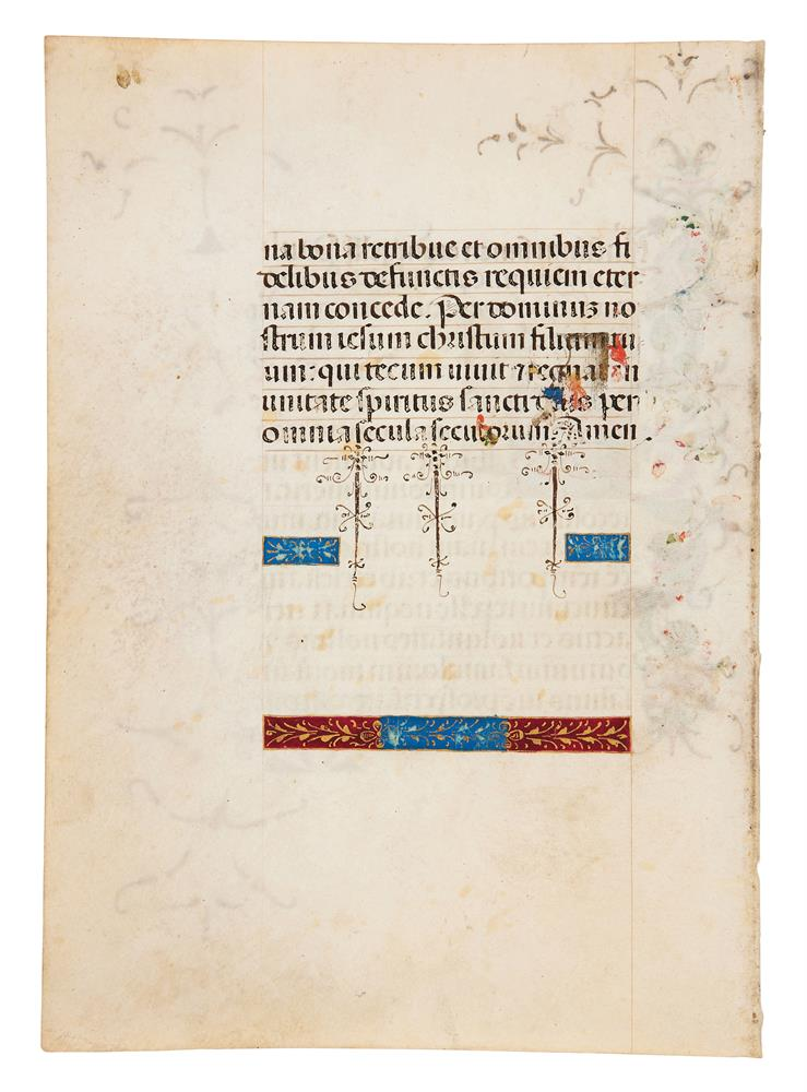 Two leaves from a Book of Hours, in Latin, illuminated manuscript on parchment [Italy (probably M - Image 4 of 4