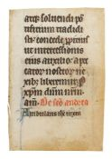 Leaf from a Psalter or Psalter-Hours, with large illuminated initial, in Latin, manuscript on par