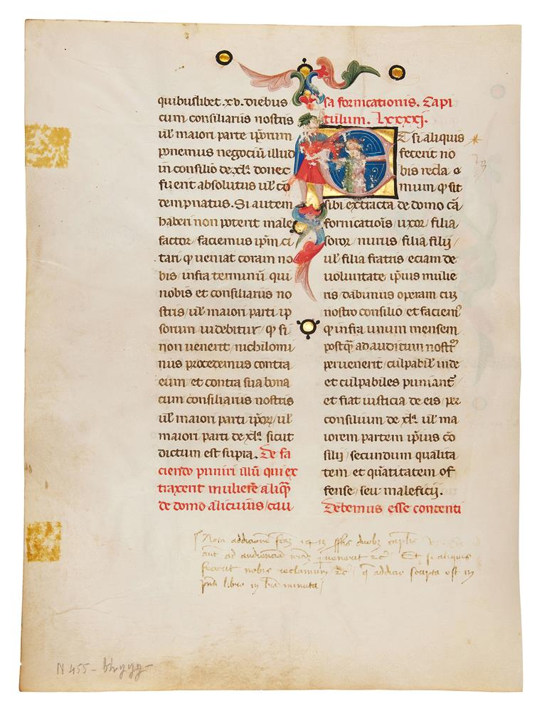 Leaf from a Promissione Ducale, the oath sworn by the doge of Venice, with two historiated initia - Image 2 of 2