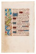 Leaf from a Book of Hours, Use of Rome, with a notably realistic painting of a frog in the margin