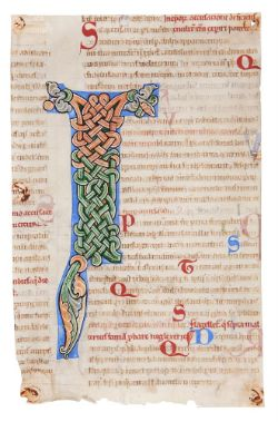 A fine interlace initial from the Pontigny Abbey copy of Gratian's Decretum, in Latin, decorated