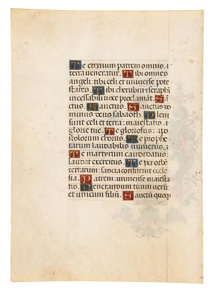 Two leaves from a Book of Hours, in Latin, illuminated manuscript on parchment [Italy (probably M - Image 2 of 4
