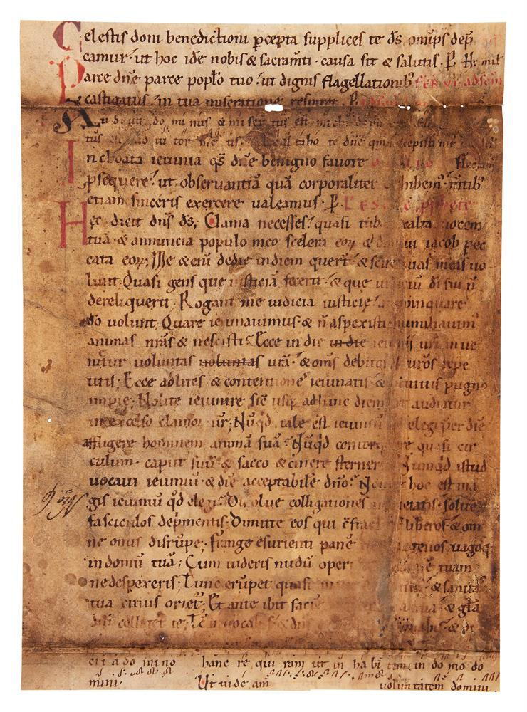 Leaf from an early Noted Missal, in Latin, decorated manuscript on parchment [Germany, eleventh - Image 2 of 2