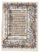 Text leaf from the Chester Beatty Hours of 1408, in Latin, illuminated manuscript on parchment