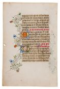 Two leaves from a notably large English Book of Hours, in Latin, illuminated manuscript on parchm