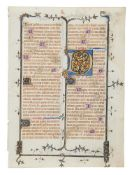 Two leaves from a richly illuminated Breviary, in Latin with French rubrics, manuscript on parchm