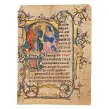 Christ before Pilate, in a finely executed historiated initial, from a known Book of Hours, in La
