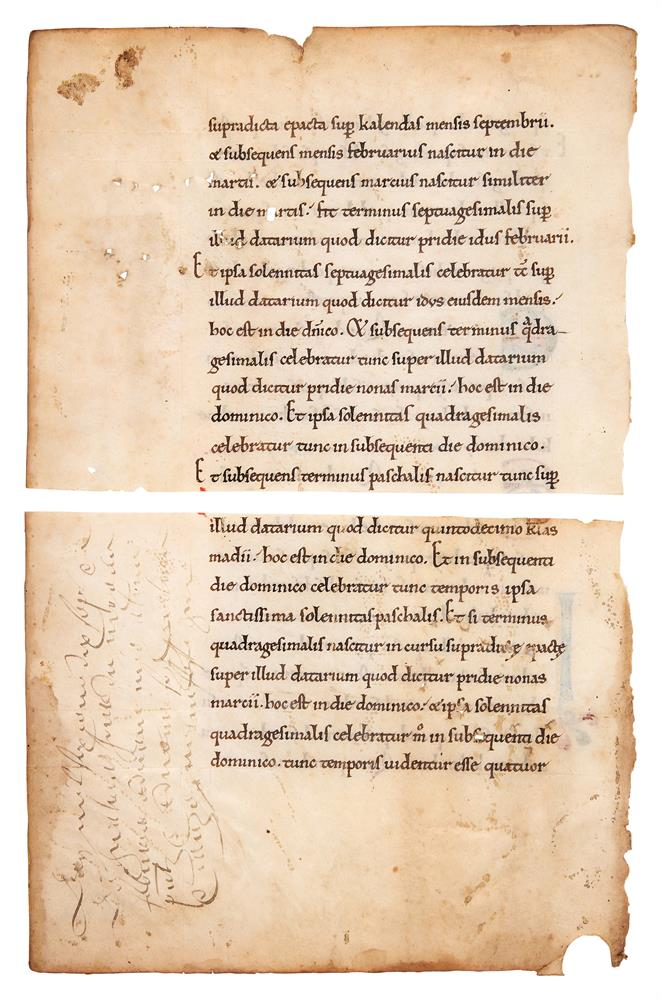 Leaf from a treatise on the Calendar, in Latin, finely decorated manuscript on parchment [France - Image 2 of 2