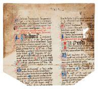 Small fragment of Geremia da Montagnone, Compendium Moralium Notabilium, citing Cicero, Seneca,