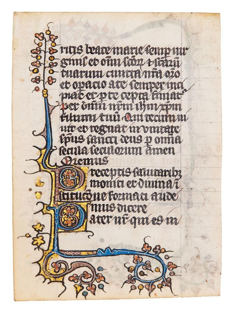 Five leaves from an early Book of Hours, of Dominican Use, in Latin, illuminated manuscript on pa - Image 6 of 8