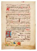 Two leaves from an antiphonal from a Flemish charterhouse, with initial and decorated border, in