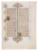 Leaf from the Llangattock Breviary, with two historiated initials, in Latin, illuminated manuscri