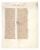 Leaf from a gargantuan copy of Petrus Comestor, Historia Scholastica, in Latin, decorated manuscr