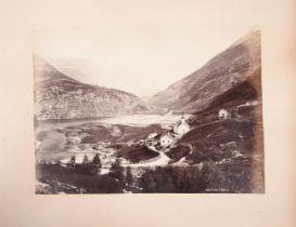 ALBUM: An album of 16 photographs, 8 watercolour sketches, Norway, (c.1900).