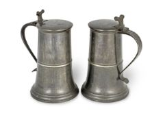 A good pair of George II pewter London-made tall flat-lid flagons, English ale gallon capacity, S...