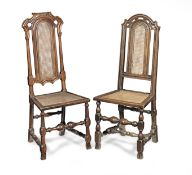 Two similar joined oak, walnut and cane side chairs, Anglo-Dutch, circa 1700