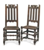 A pair of William & Mary slat-back side chairs, Yorkshire, circa 1690 (2)