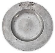 A Charles II pewter plain broad-rim plate, circa 1675 (11⅞in diameter, rim 2in, (34%))