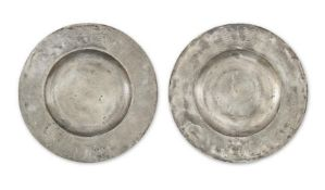 An impressive pair of Charles II pewter broad rim chargers, circa 1670 (2)