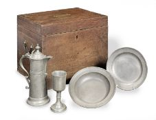 A William IV pewter communion set, in fitted oak case (9)