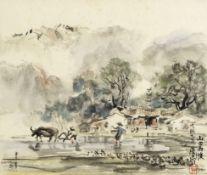 Ran In-Ting (Lan Yinding) (Taiwanese, 1903-1979) Fields in the mountain after the rain