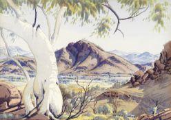 Albert Namatjira (Australian, 1902-1959) A ghost gum on Washwood Stn. (Mt. Bowman) near Haasts Bl...