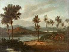 Colonial School, early 19th century Chinese labourers cutting palm fronds in an Asian landscape; ...