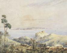 Frederic Casemero Terry (Australian, 1827-1870) A view of Australian coastal islands