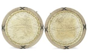 WORLD MAPS - EMBROIDERED A pair of embroidered oval maps of the West and East hemispheres, [ninet...
