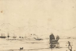 European School (19th Century) View across to the bay of Hong Kong towards the mountains, junks i...