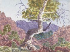 Otto Pareroultja (Australian, 1914-1973) A gum tree in an Australian landscape