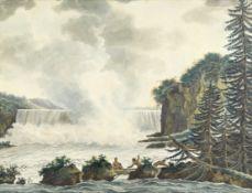 Colonial School, circa 1800 A pair of views believed to depict Les Chutes de la Madeleine, New Ca...