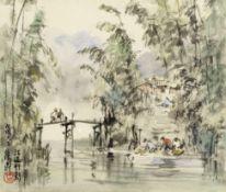Ran In-Ting (Lan Yinding) (Taiwanese, 1903-1979) Bamboo by the riverside