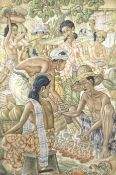 Anak Agung Gede Sobrat (Indonesian, 1911-1992) A busy market in Indonesia